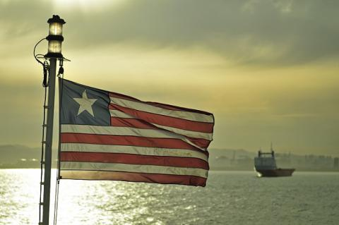 Image of Liberian Flag on ship